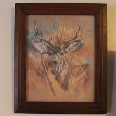 Vintage 1978 Home Interiors Homco The Silent Buck Gl Wood Framed Art By K Maroon
