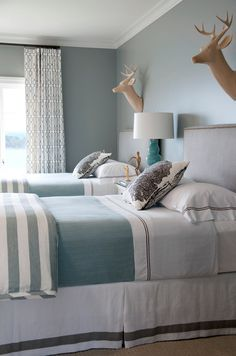 Gray & Blue Bedroom (twin beds, striped blankets, curtains) - Kevin Walsh of Bear-Hill Interiors