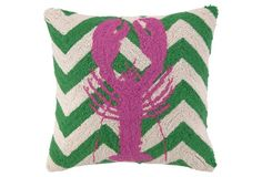 Lobster 18x18 Pillow, Pink/Green