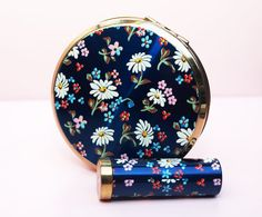 Powder Compact and Lipstick Holder Set decorated with multicoloured flowers