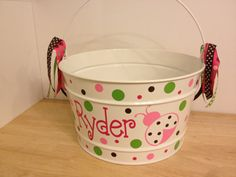 Gift bucket 16 quart Personalized metal bucket name by DeLaDesign, $34.00