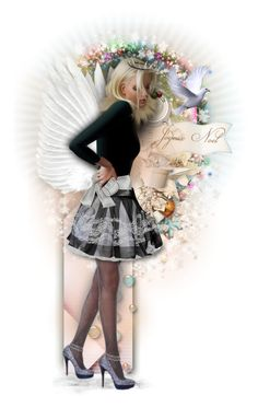 """Christmas Angel"" by girlyideas ❤ liked on Polyvore featuring art"