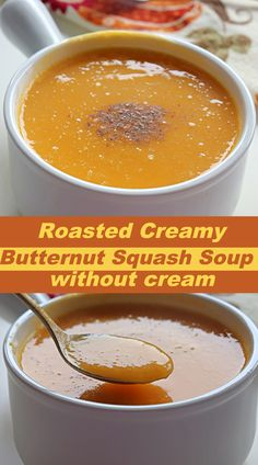 Roasted Butternut Squash Soup, a delicious, and healthy soup with wonderful aroma. Perfect soup for cold nights !!! #soup #fallrecipe Sweets Recipes, Fall Recipes, New Recipes, Soup Recipes, Favorite Recipes, Butter Squash Soup, Butternut Squash Soup Healthy, Good Healthy Recipes, Healthy Soup
