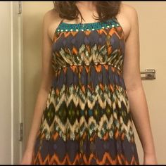 Tribal print maxi dress Tribal maxi purchased from target. Great condition. Lucky Brand Dresses Maxi