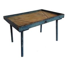 """Rare 19 Century Pennsylvania Cheese drain table with old blue paint. Square-head nailed, one-board construction. Great size for a """"coffee table""""! measures: 21"""" tall 22"""" 1/2 deep 34""""1/2"""" long - from Country Treasures"""