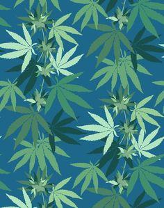 'Cannabis' Wallpaper by Nathan Turner - Cadet Blue - Wallpaper Roll - Sample
