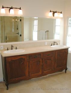pictures of dressers converted into bathroom vanities | Antique furniture cabinet converted into a two sink vanity with marble ...