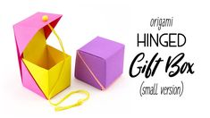 Origami Hinged Gift Box Tutorial - Small Cube Version - Paper Kawaii - YouTube