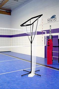 "Bownet Volleyball Setting Net The Setting Net is adjustable from 8' to a height of 11' 6"" The basket is adjustable from Horizontal to 45º . And with a 'Sets Up' time of 60secs and soft non marking rub"