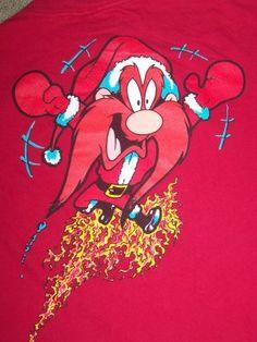 Vintage L Ugly Christmas Holiday Party T Shirt Yosemite Sam Flaming Santa Christmas Napkins, Christmas Snowflakes, Christmas Bells, Christmas Holidays, Vintage Christmas Sweaters, Ugly Christmas Sweater, Looney Tunes Cartoons, Cool Cartoons, Yosemite Sam