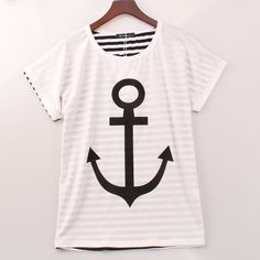2016 Inner Stripes T Shirt Women Anchor Printed Striped T-shirt Women Fashion Casual Summer New Tee Top Shirt Femme Sakura