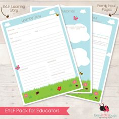 EYLF pack for Educators Documentation Pages Childcare Activities, Educational Activities, Activities For Kids, Teaching Portfolio, Learning Stories, Family Day Care, Early Childhood Education, Fun At Work, Early Learning