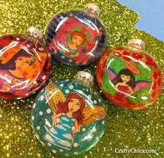 glittery angels glass bubble ornaments by crafty chica