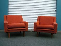 Pair Mid Century Modern Retro Orange Wool Lounge Club Chairs Ponti Baughman Era   eBay