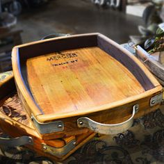 Wine barrel stave serving tray with galvanized metal handles