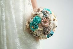 Fabric Bridal Bouquet Wedding Fabric Bouquet by MySecretFace, $190.00  This too
