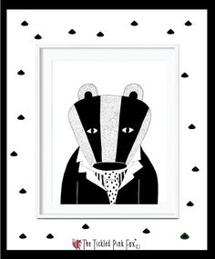 Black and white Badger with tie by thetickledpinkfox on Etsy Pink Fox, Cute Poster, Badger, Posters, Tie, Unique Jewelry, Black And White, Handmade Gifts, Illustration
