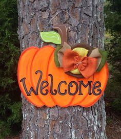 Festive Door decor for fall! Customize this pumpkin however you like. Sure to add character to your door.    hand made hand cut sealed for