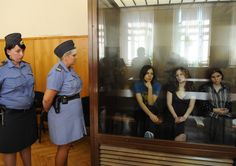 """Feminist punk group Pussy Riot    Nicknamed the aquarium , it is here that the three members of the Russian punk band Pussy Riot , Tolokonnikova Nadezhda , 22, Samoutsevitch Ekaterina , 30, and Maria Alekhina , 24, detained for five months, attend their trial Khamovnichesky court. Accused of """"hooliganism and incitement to religious hatred"""" because of the concert """"religious punk"""" (as their term) they had performed 21 February 2012 in the cathedral, they run 3 years internment camp."""