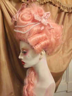 Pink Marie Antoinette Wig with Birdcage Movie Quality OOAK Rococo Powdered Wig | eBay