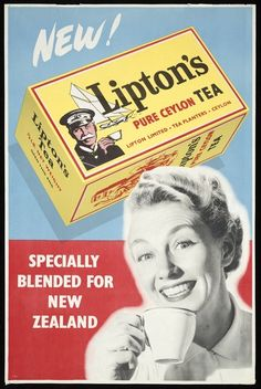 Lipton Tea ad 'New! Lipton's Pure Ceylon Tea . Specially blended for New Zealand' depicts box of tea and woman drinking a cup of tea, c New Zealand Vintage Labels, Vintage Tea, Vintage Signs, Vintage Posters, Retro Ads, Vintage Advertisements, Old Commercials, Kiwiana, Lipton