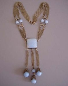 "DECO French blue glass beads, silver tone mesh and chain necklace, 15-1/2"" necklace with 4"" front drop"