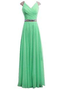 Dress U Cap Sleev V-neck Crystals Waist Chiffon Prom Gown Bridesmaid Dress Long Mint US 2 Dress U http://www.amazon.com/dp/B00WO4J2B8/ref=cm_sw_r_pi_dp_MTiqvb0EDS3TF