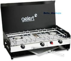 GELERT-Deluxe-Camping-Camper-Dual-2-Double-Burner-Gas-Cooker-Stove-Grill-BBQ-Hob