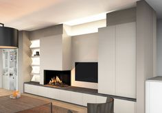 Gas fireplaces Kal-Fire Eco-Prestige, in-built into a modern wall unit with TV integrated. The sokkeluitbouw bottom of the tablet, it is equipped with slide trays. Bedroom Fireplace, Modern Fireplace, Fireplace Design, Living Room With Fireplace, Living Room Modern, Home Living Room, Living Room Designs, Living Room Decor, Modern Wall Units