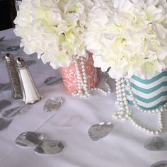Coral and Teal themed bridal shower. Centerpiece. Vases with pearls descending. Vase wraps by Cathyswraps on Etsy