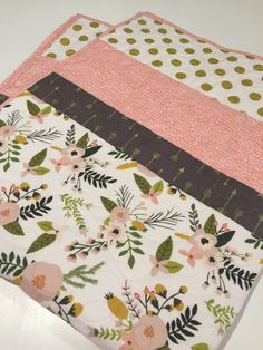 Baby Girl Floral Quilt, blush pink gold baby bedding, gold arrows, gold dots, blush pink floral baby quilt, nursery bedding, crib bedding by 31RubiesQuiltStudio on Etsy