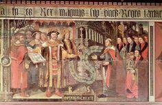 Bishop Robert Sherburne with Henry VIII (1491-1547) c.1508-36 (mural).  Henry visited Bishop Sherburne at Amberley Castle in 1526.  Barnard, Lambert (fl.1508-36) / Chichester Cathedral, Sussex, UK / Bridgeman Imag