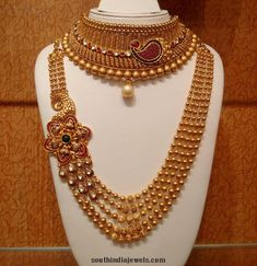 Gold Bridal Choker and haram with golden balls