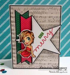 Christmas card. Using Some odd girl digital stamp Lazy Day Kaylee. #Cardmaking #CAS #christmas www.someoddgirl.com
