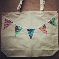 embroidered fabric bunting tote bag
