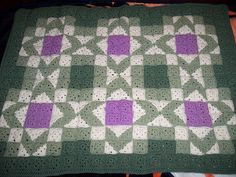 Free Crochet Afghan Diamond Square Pattern - Model by Sylvia