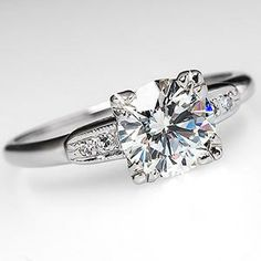Vintage Round Brilliant Engagement Ring w/ Accents in 14K White Gold