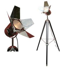Hollywood Industrial Chrome Nickel Spotlight with Black Wooden Tripod Floor Lamp | eBay