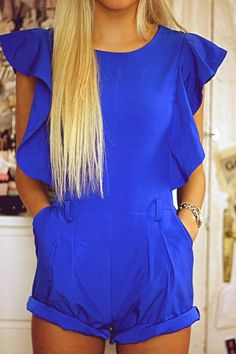 Royal Blue Romper + Long Blonde Hair
