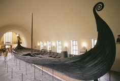 The Oseberg Ship, buried with a Viking Queen in the early 9th century. It is kept on display in Oslo, Norway.