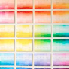 Arranged paint chips in an ombre design and mounted onto multiple canvases. #craftgawker