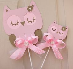 Baby Shower or Birthday Pink and Brown Owl Cake Toppers. $15.00, via Etsy.