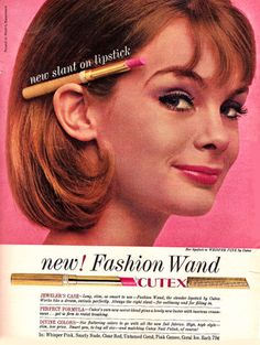 1963_ad_for_Cutex _lipstick These long slim lipsticks and glosses made a comeback in the 1980s , from Maybelline I thought that shape was new then!