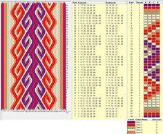 Kivrim, 44 cards, 5 colors, repeats every 8 rows ༺❁ Card Weaving, Weaving Art, Loom Weaving, Inkle Weaving Patterns, Loom Patterns, Card Patterns, Print Patterns, Iris Folding Pattern, Finger Weaving