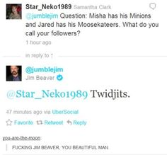 Twidjits. #supernatural gotta love bobby/jim beaver. minions and moosekateers.