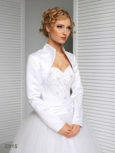 Full Long Sleeve Satin Wedding Jacket Bridal Bolero Jacket E915 in Clothes, Shoes & Accessories, Wedding & Formal Occasion, Bridal Accessories | eBay