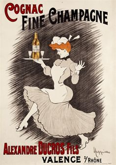 Cognac Fine Champagne by Cappiello  1905 French- Beautiful Vintage Poster Reproduction. This vertical french wine and spirits poster features a dancing maid/woman holding a tray with glasses and bottle of liquor.  Giclee Advertising Print. Classic Poster