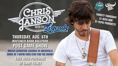 Chris Janson will perform in a postgame concert at Whitaker Bank Ballpark on Thursday, August 6 after the Legends vs Greenville Drive game. It's a KY Ale Thirsty Thursday at Whitaker Bank Ballpark, with numerous brands of beer only $1, with $1 small Pepsi products. The concert is free with the purchase of a game ticket!