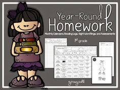 ear-Round Homework Packet for 1st Grade: Monthly Calendars, Sight Word Rings, Reading Logs, and Assessments. 146 pages.  All Assignments Aligned to Common Core and National Science Standards!