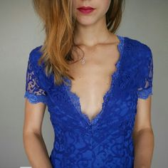 Tobi Dresses - Blue low cut Backless dress. Size extra small.     Lace Backless Lowcut Tight Dress